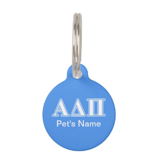 Alpha Delta Pi Dark Blue and White Letters Pet Name Tag