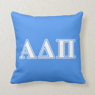 Alpha Delta Pi Dark Blue and White Letters Pillow