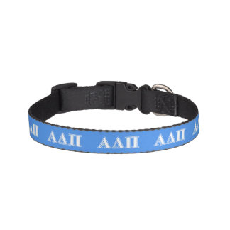 Alpha Delta Pi Dark Blue and White Letters Dog Collars
