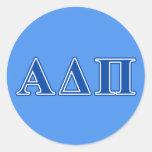 Alpha Delta Pi Dark Blue Letters Classic Round Sticker