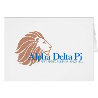 Alpha Delta Pi Gold Lion and Blue Name Card