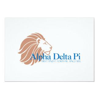 Alpha Delta Pi Gold Lion and Blue Name Personalized Invitation