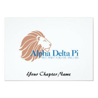 Alpha Delta Pi Gold Lion and Blue Name 5x7 Paper Invitation Card