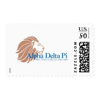 Alpha Delta Pi Gold Lion and Blue Name Postage