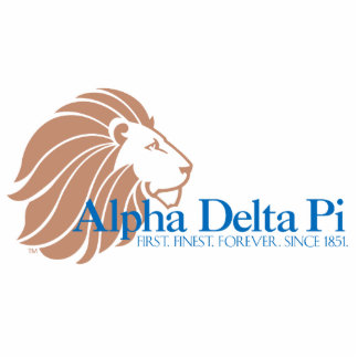 Alpha Delta Pi Gold Lion and Blue Name Standing Photo Sculpture