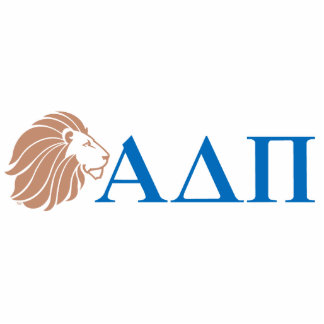 Alpha Delta Pi Gold Lion and Greek Letters Standing Photo Sculpture