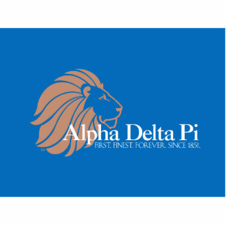 Alpha Delta Pi Gold Lion with Blue Background Standing Photo Sculpture