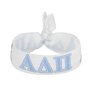 Alpha Delta Pi Light Blue and Dark Blue Letters Elastic Hair Tie