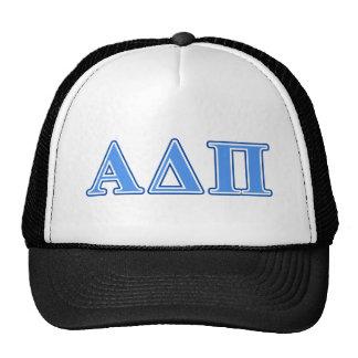 Alpha Delta Pi Light Blue and Dark Blue Letters Mesh Hats