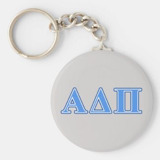 Alpha Delta Pi Light Blue and Dark Blue Letters Keychain