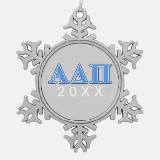 Alpha Delta Pi Light Blue and Dark Blue Letters Snowflake Pewter Christmas Ornament