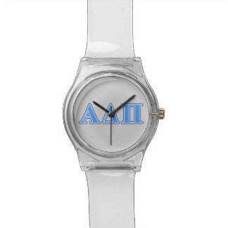 Alpha Delta Pi Light Blue and Dark Blue Letters Wristwatches