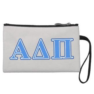Alpha Delta Pi Light Blue and Dark Blue Letters Wristlet