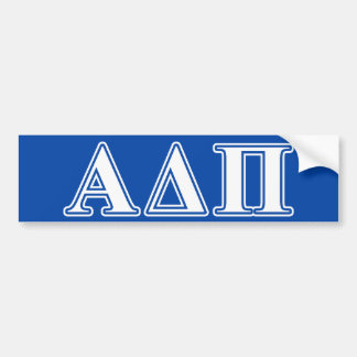Alpha Delta Pi Light Blue and White Letters Bumper Sticker