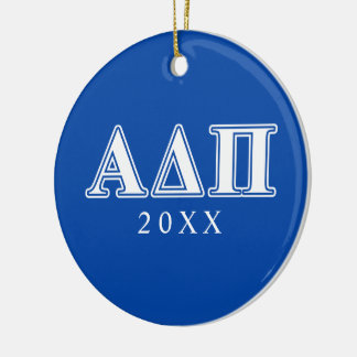 Alpha Delta Pi Light Blue and White Letters Ceramic Ornament