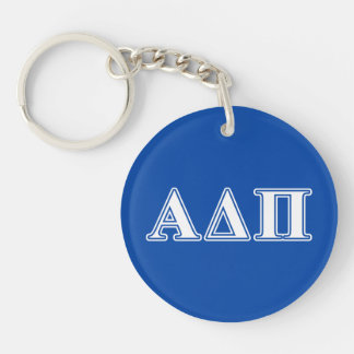 Alpha Delta Pi Light Blue and White Letters Keychain