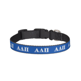Alpha Delta Pi Light Blue and White Letters Pet Collar