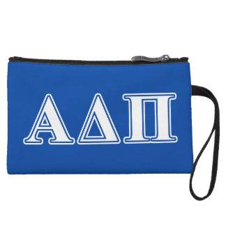 Alpha Delta Pi Light Blue and White Letters Wristlet Wallet