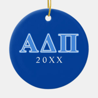 Alpha Delta Pi Light Blue Letters Ceramic Ornament