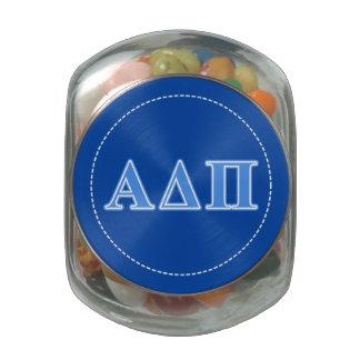 Alpha Delta Pi Light Blue Letters Jelly Belly Candy Jars