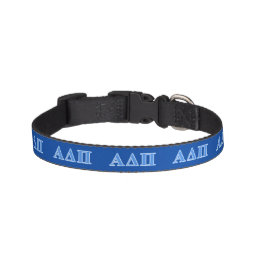 Alpha Delta Pi Light Blue Letters Pet Collar