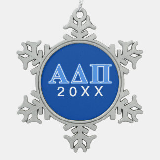 Alpha Delta Pi Light Blue Letters Snowflake Pewter Christmas Ornament