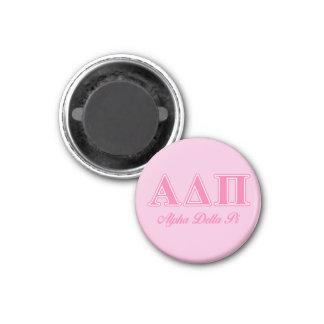 Alpha Delta Pi Pink Letters 1 Inch Round Magnet