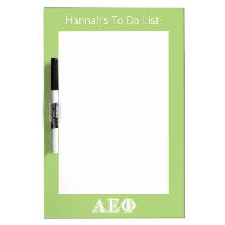 Alpha Epsilon Phi White and Green Letters Dry Erase Whiteboards