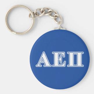 Alpha Epsilon Pi White and Blue Letters Keychain
