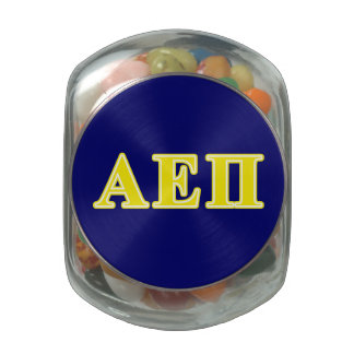 Alpha Epsilon Pi Yellow Letters Jelly Belly Candy Jar