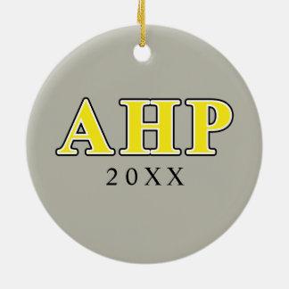 Alpha Eta Rho Black and Yellow Letters Ceramic Ornament