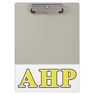 Alpha Eta Rho Black and Yellow Letters Clipboard