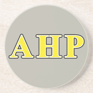 Alpha Eta Rho Black and Yellow Letters Drink Coaster