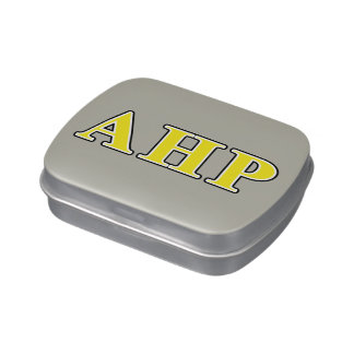 Alpha Eta Rho Black and Yellow Letters Jelly Belly Tins