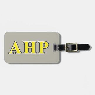 Alpha Eta Rho Black and Yellow Letters Luggage Tag