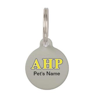 Alpha Eta Rho Black and Yellow Letters Pet Tag