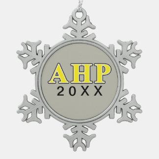 Alpha Eta Rho Black and Yellow Letters Snowflake Pewter Christmas Ornament