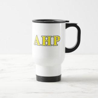 Alpha Eta Rho Black and Yellow Letters Travel Mug