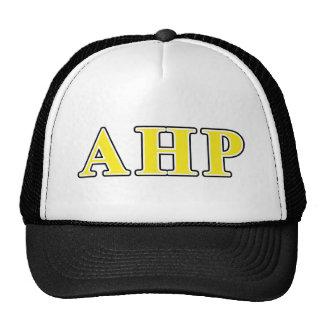 Alpha Eta Rho Black and Yellow Letters Trucker Hat