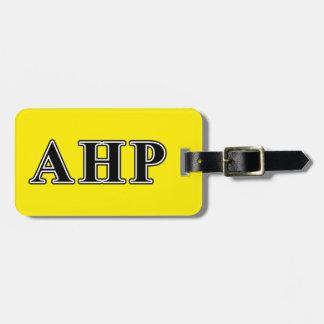 Alpha Eta Rho Black Letters Bag Tag