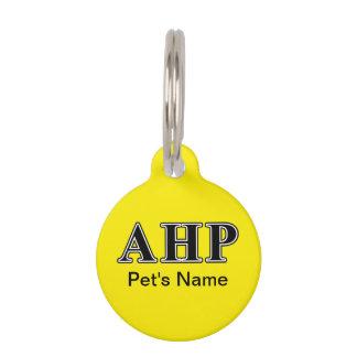 Alpha Eta Rho Black Letters Pet Name Tag