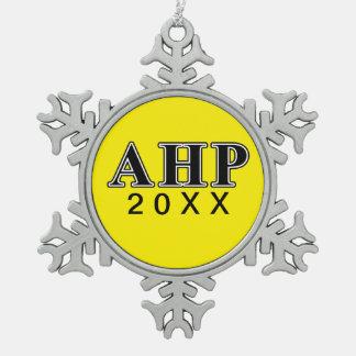 Alpha Eta Rho Black Letters Snowflake Pewter Christmas Ornament