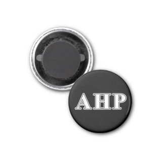 Alpha Eta Rho White and Black Letters 1 Inch Round Magnet
