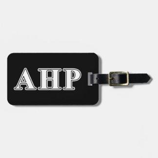 Alpha Eta Rho White and Black Letters Bag Tag