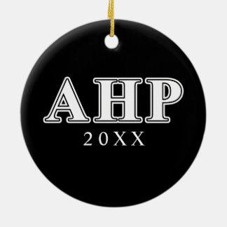 Alpha Eta Rho White and Black Letters Ceramic Ornament