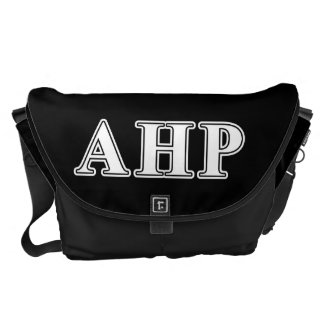 Alpha Eta Rho White and Black Letters Messenger Bag