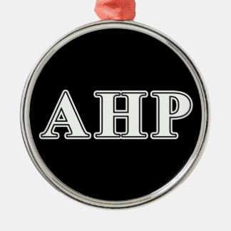 Alpha Eta Rho White and Black Letters Metal Ornament