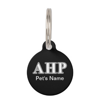 Alpha Eta Rho White and Black Letters Pet Tag