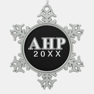 Alpha Eta Rho White and Black Letters Snowflake Pewter Christmas Ornament