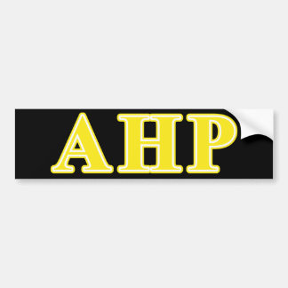 Alpha Eta Rho Yellow Letters Bumper Sticker